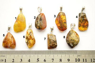 Natural Baltic amber Pendants Small 925 Silver Yolk Butterscotch Green Honey