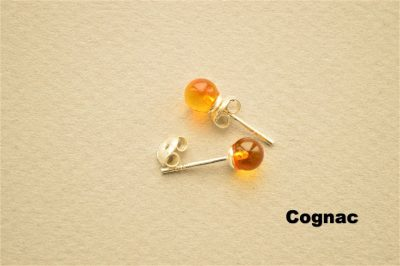 Natural Baltic amber 925 Silver Rounded Cognac Beads earrings