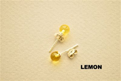 Natural Baltic amber 925 Silver Rounded Lemon Beads earrings
